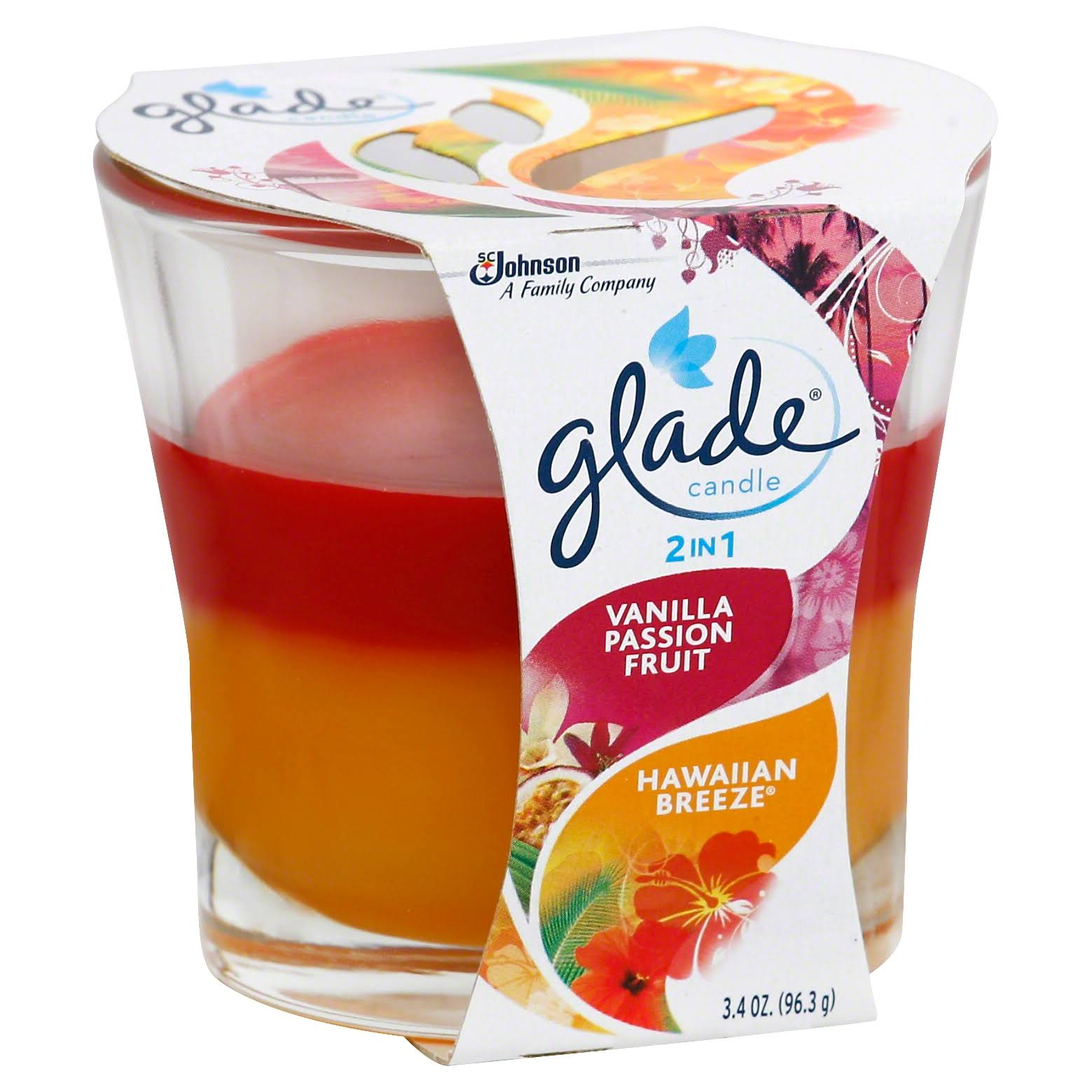 SC Johnson Glade 2 in 1 Vanilla Passion Fruit and Hawaiian Breeze Candle