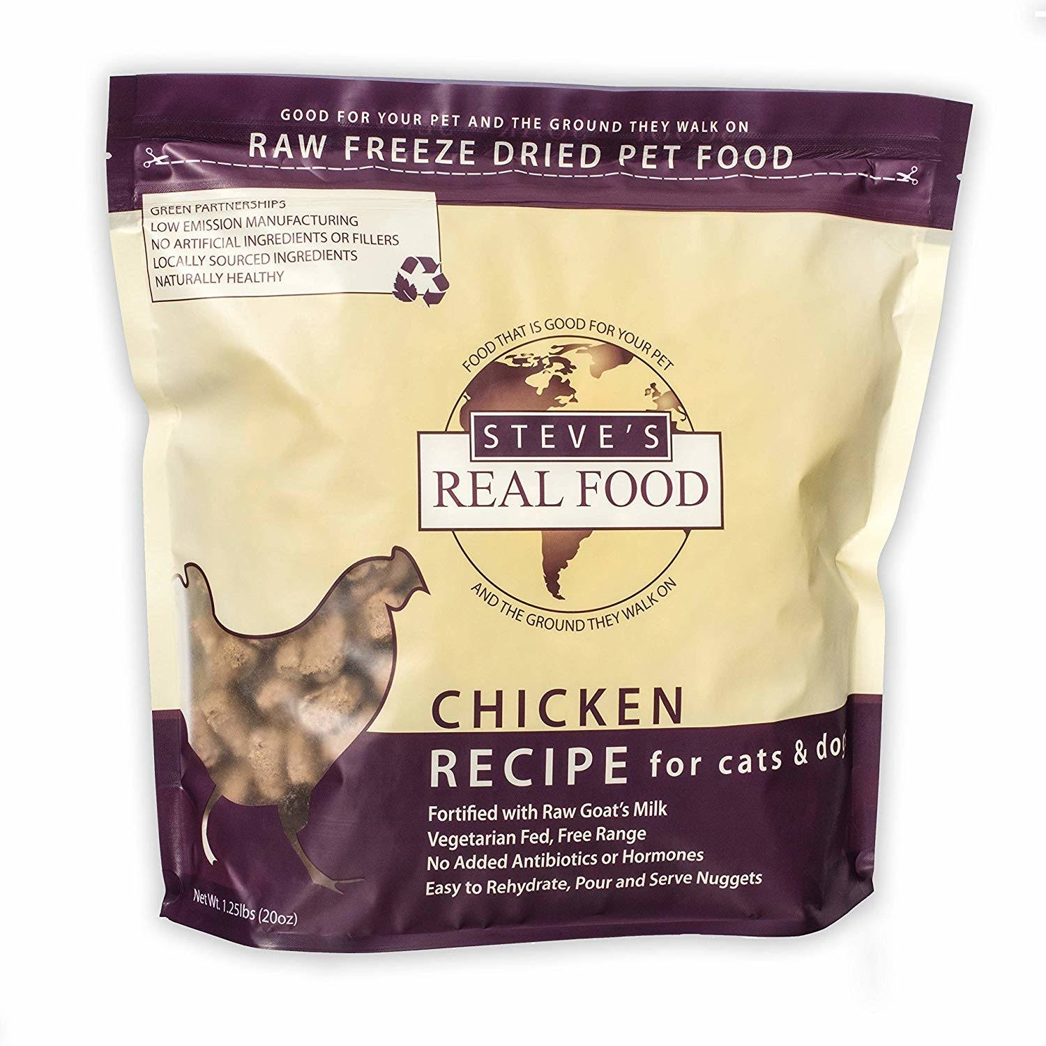 Steve's Real Freeze Dried Chicken Dog Food 1.25lb