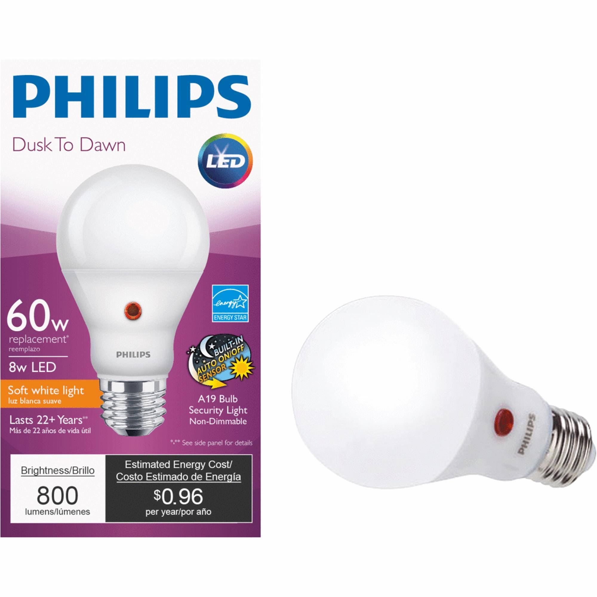 Philips A19 Medium Dusk To Dawn LED Light Bulb, Warm White