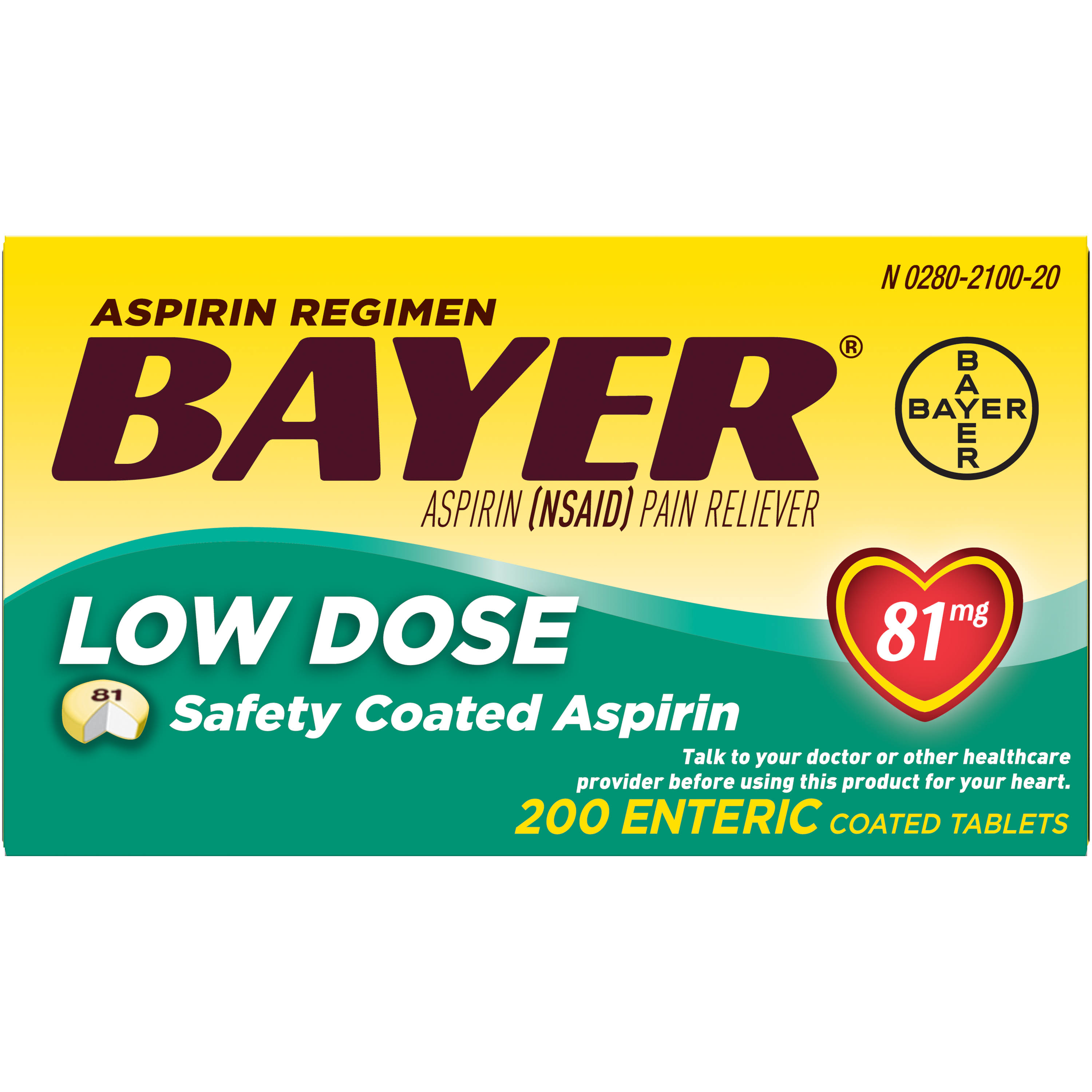 Bayer Aspirin Regimen Enteric Coated Tablets - 81mg, 200pk