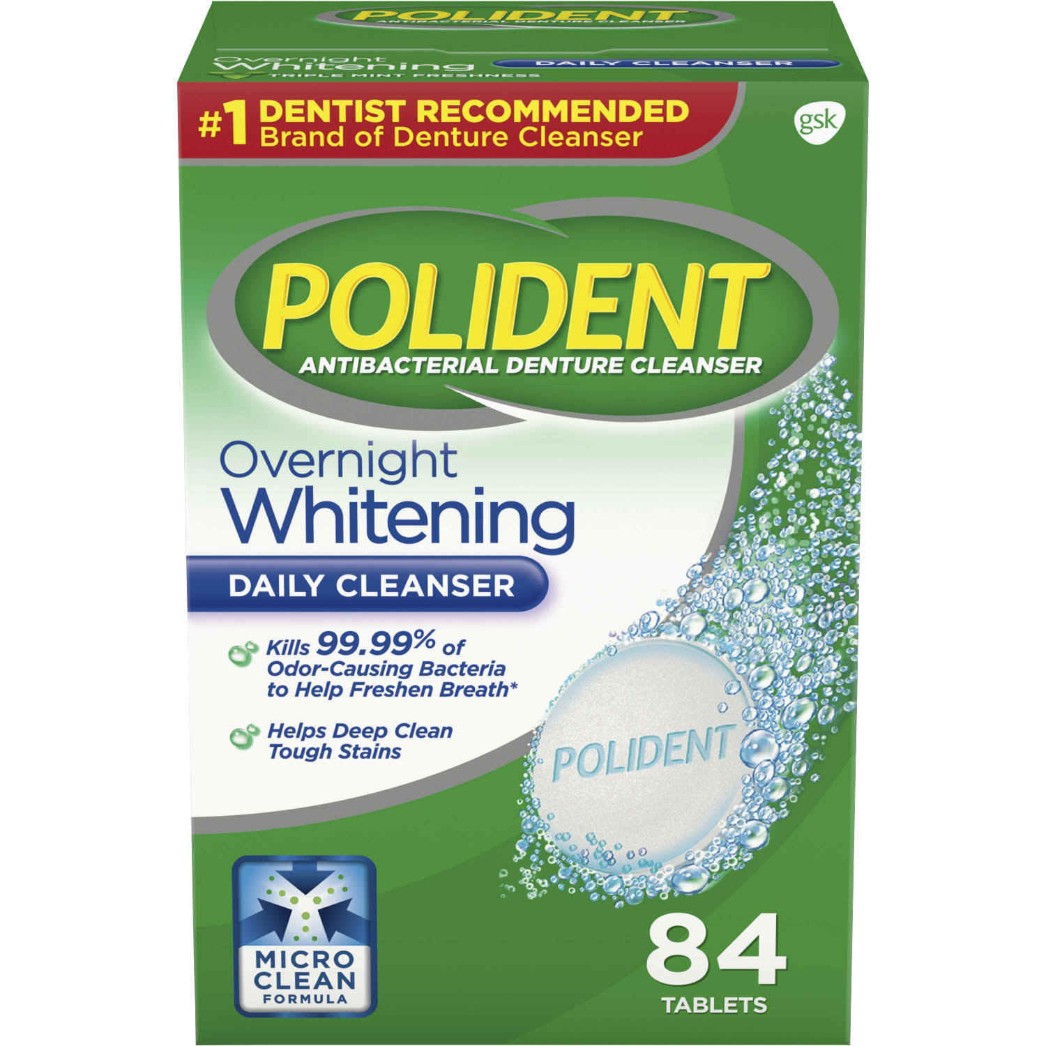 Gsk Polident Overnight Whitening Tablets - 84pk