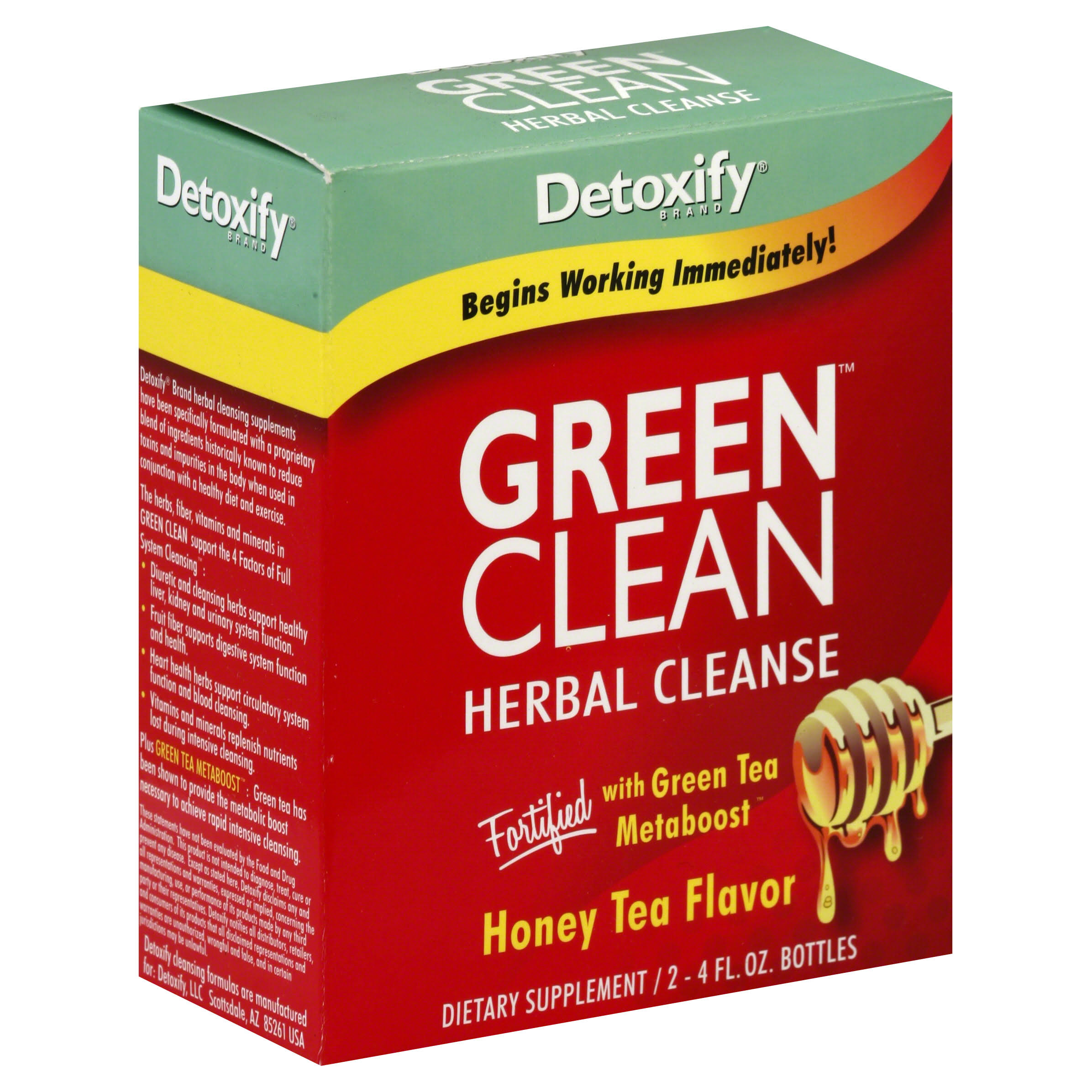 Detoxify Green Clean Herbal Cleanse - Honey Tea, 8FL. Oz