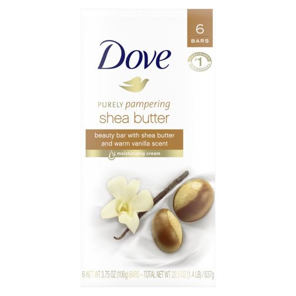 Dove Purely Pampering Beauty Bath Bars - Shea Butter and Warm Vanilla, 4oz, 6pk