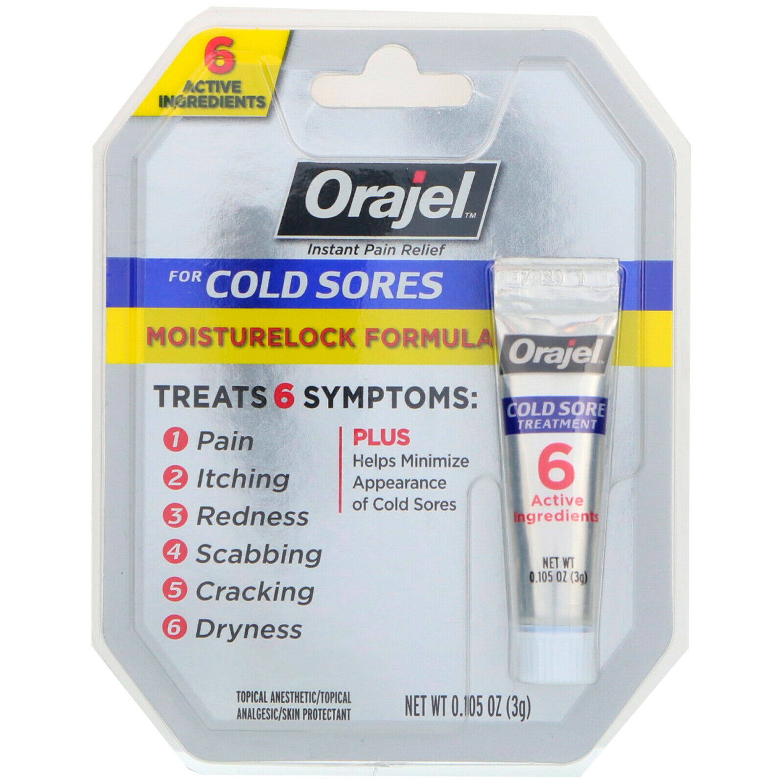 Orajel Moisturelock Cold Sore Treatment - Cream, 3g
