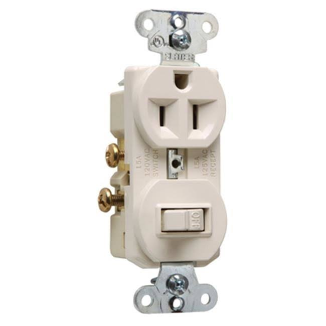 Pass and Seymour Combination Single Pole Switch Receptacle Light - Almond, 15 Amp, 120V
