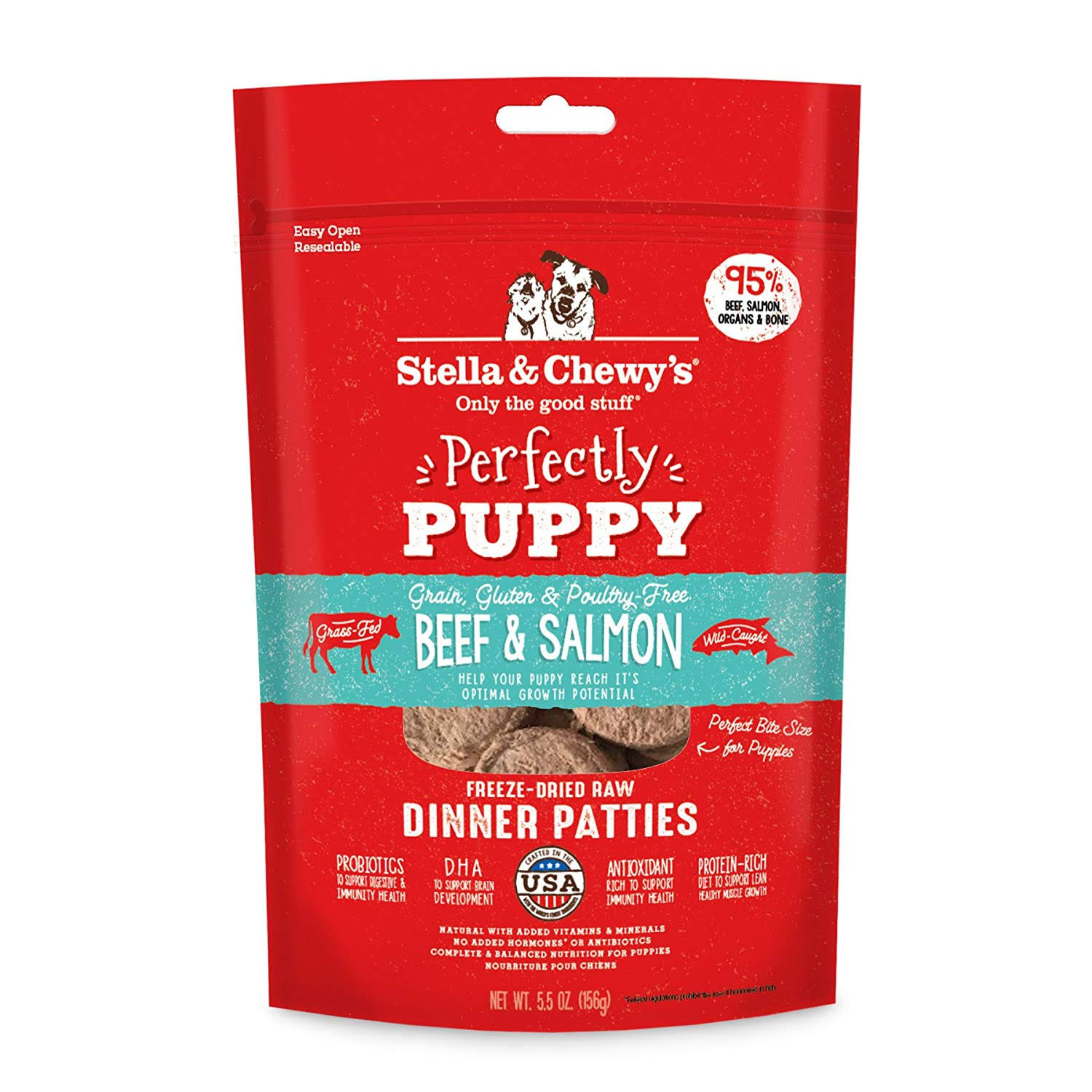 Stella Chewy's Perfectly Puppy Freeze Dried Raw Beef & Salmon Dinner Patties Grain Free Dog Food - 5.5 oz