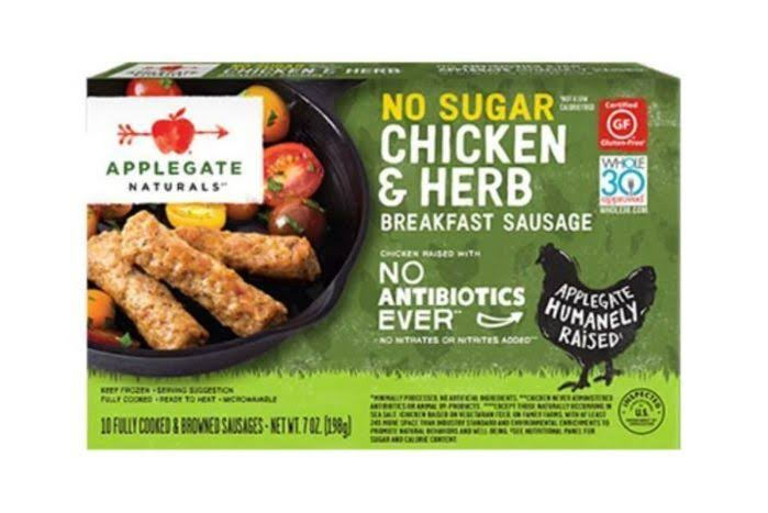 Applegate Naturals Breakfast Sausage, No Sugar, Chicken & Herb - 10 sausages, 7 oz