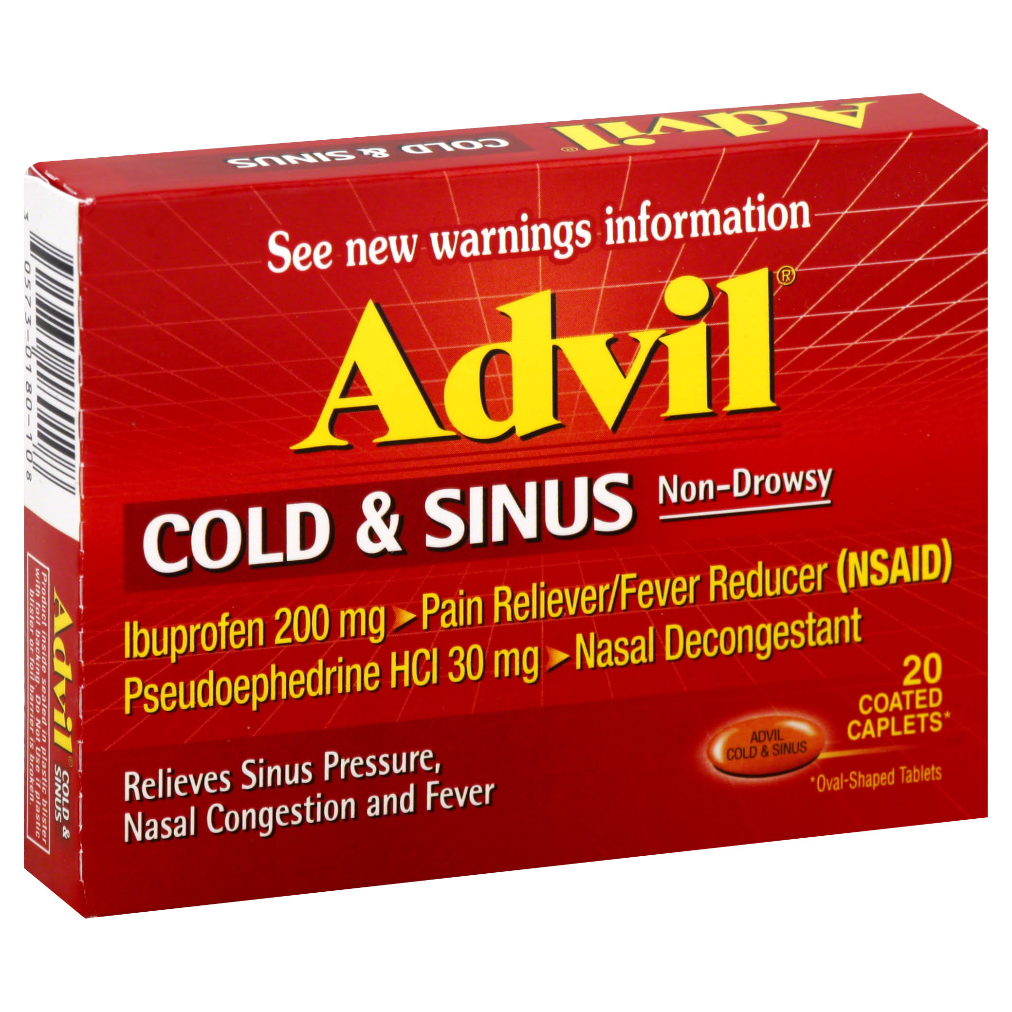 Advil Cold & Sinus Non-Drowsy Coated Caplets - 20 Caplets