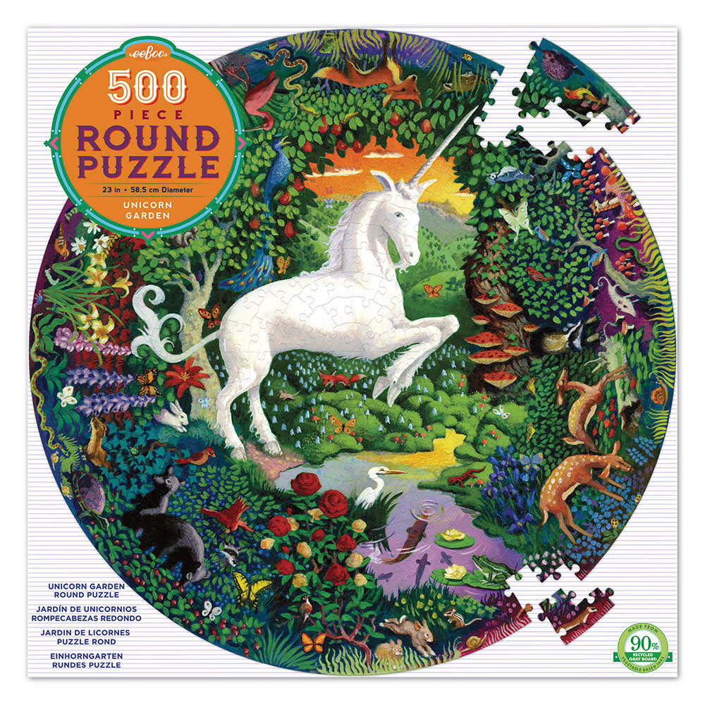eeBoo Unicorn Garden Round Puzzle - 500 Pieces