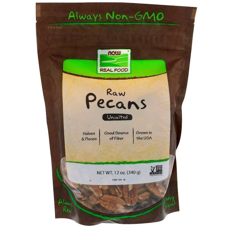 Now Foods Real Food Raw Pecans - Halves and Pieces, Unsalted, 12oz