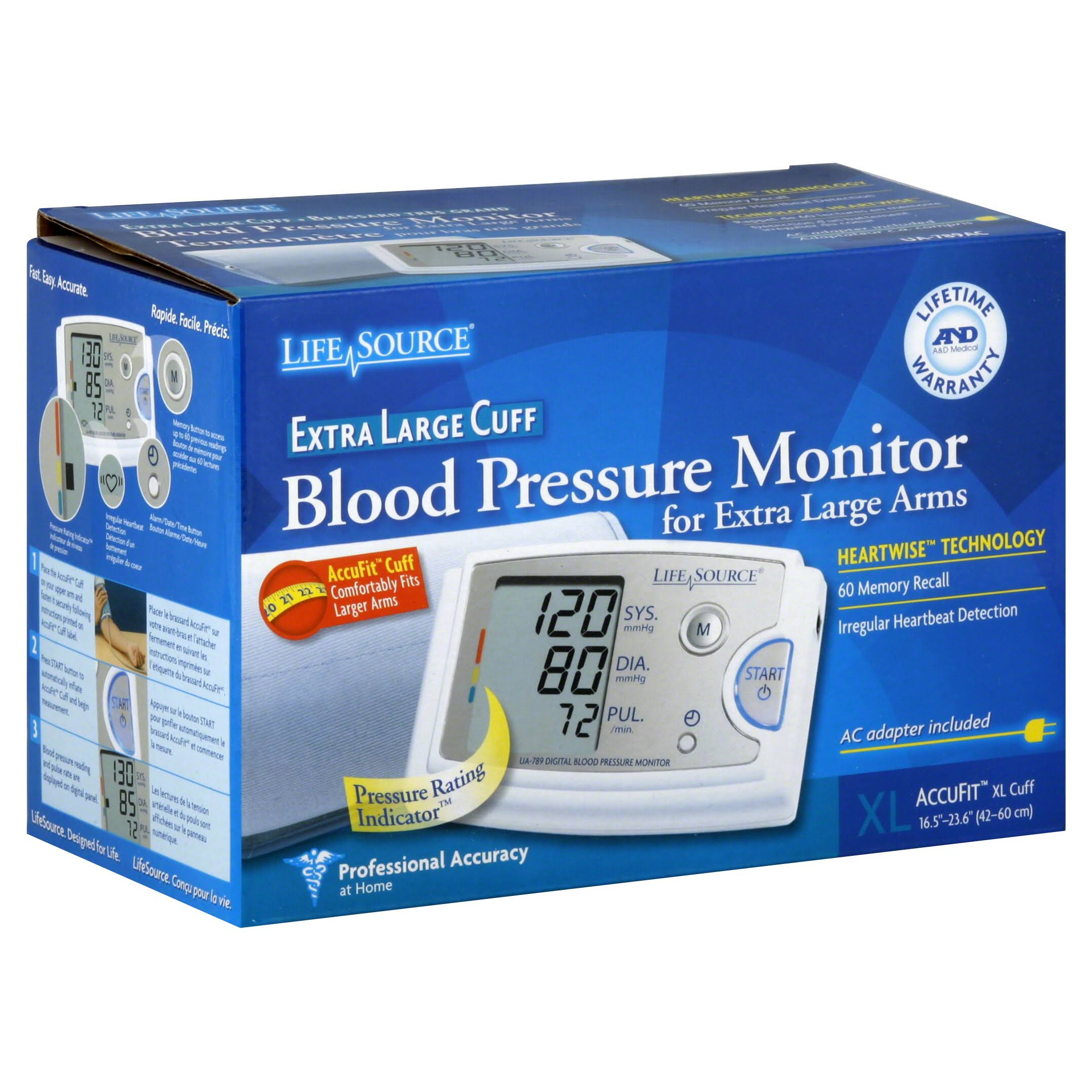 LifeSource Pro Blood Pressure Monitor with X-Large Cuff