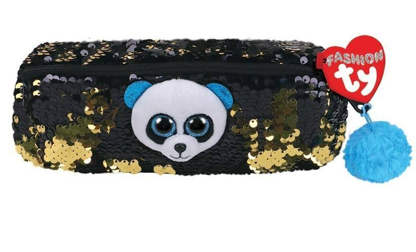Ty Fashion Flippy Sequin Pencil Bag - Bamboo The Panda Bear (8 inch)