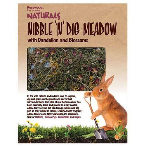 Naturals Nibble 'n' Dig Meadow Rabbit and Guinea Pig Treat - with Dandelion and Blossoms, 30cm x 23.5cm x 4cm