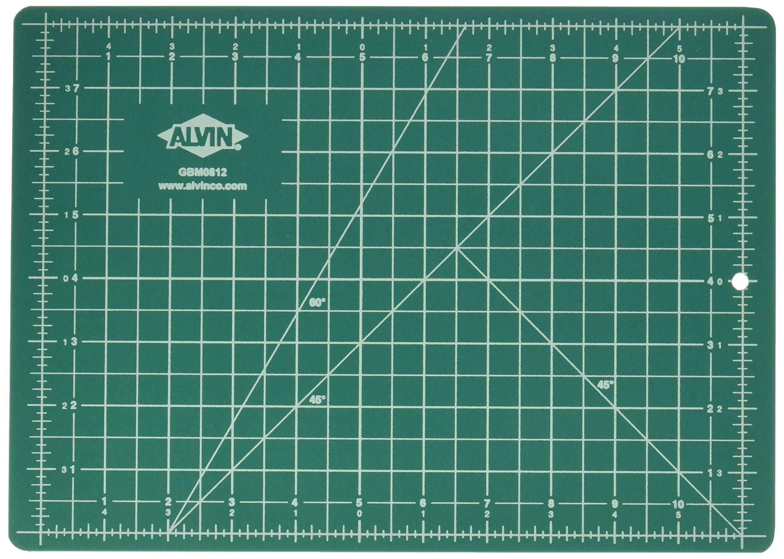 "Alvin Double Sided Self Healing Cutting Mat - 8 1/2"" x 12"", Green and Black"