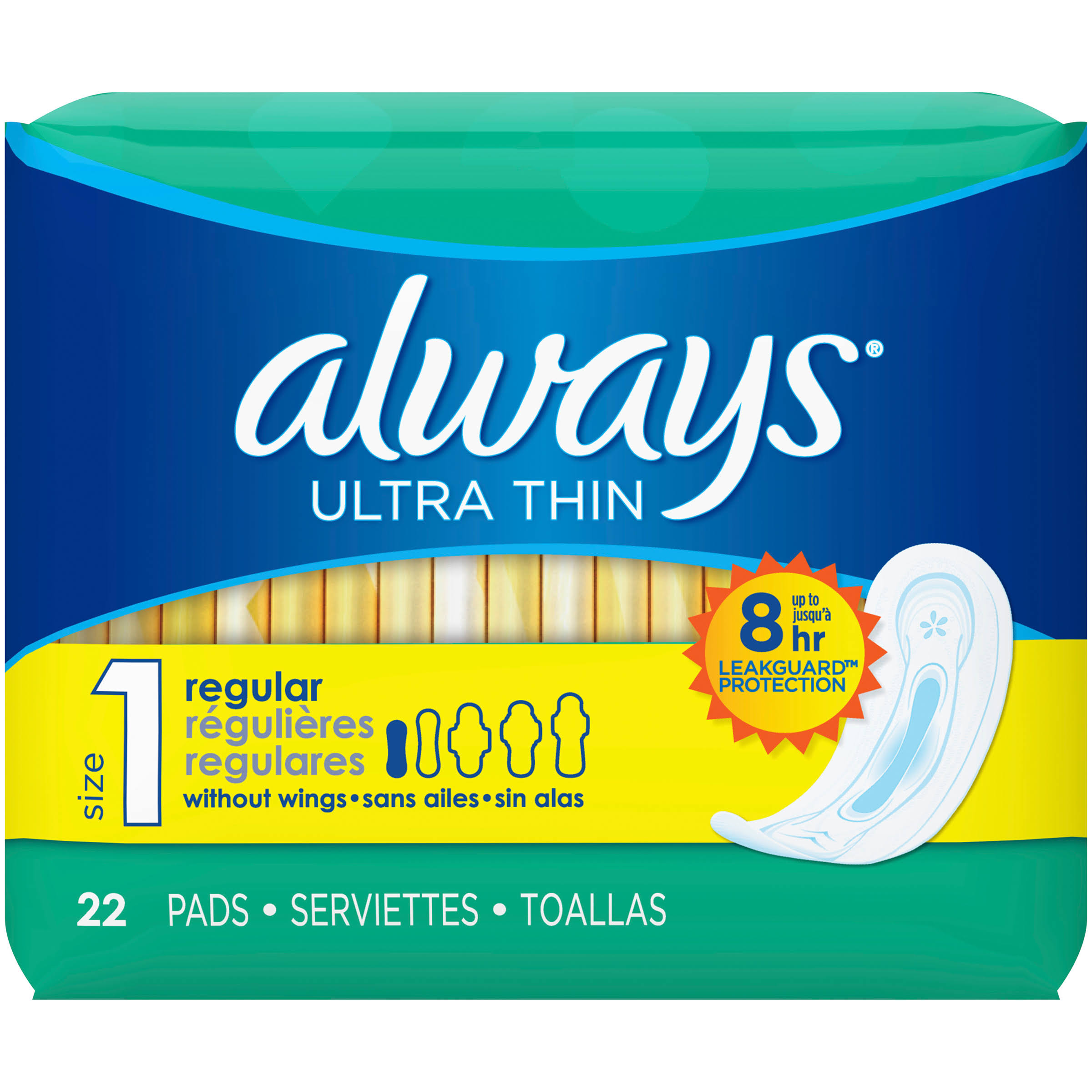 Always Ultra Thin Regular Without Wings Unscented Pads