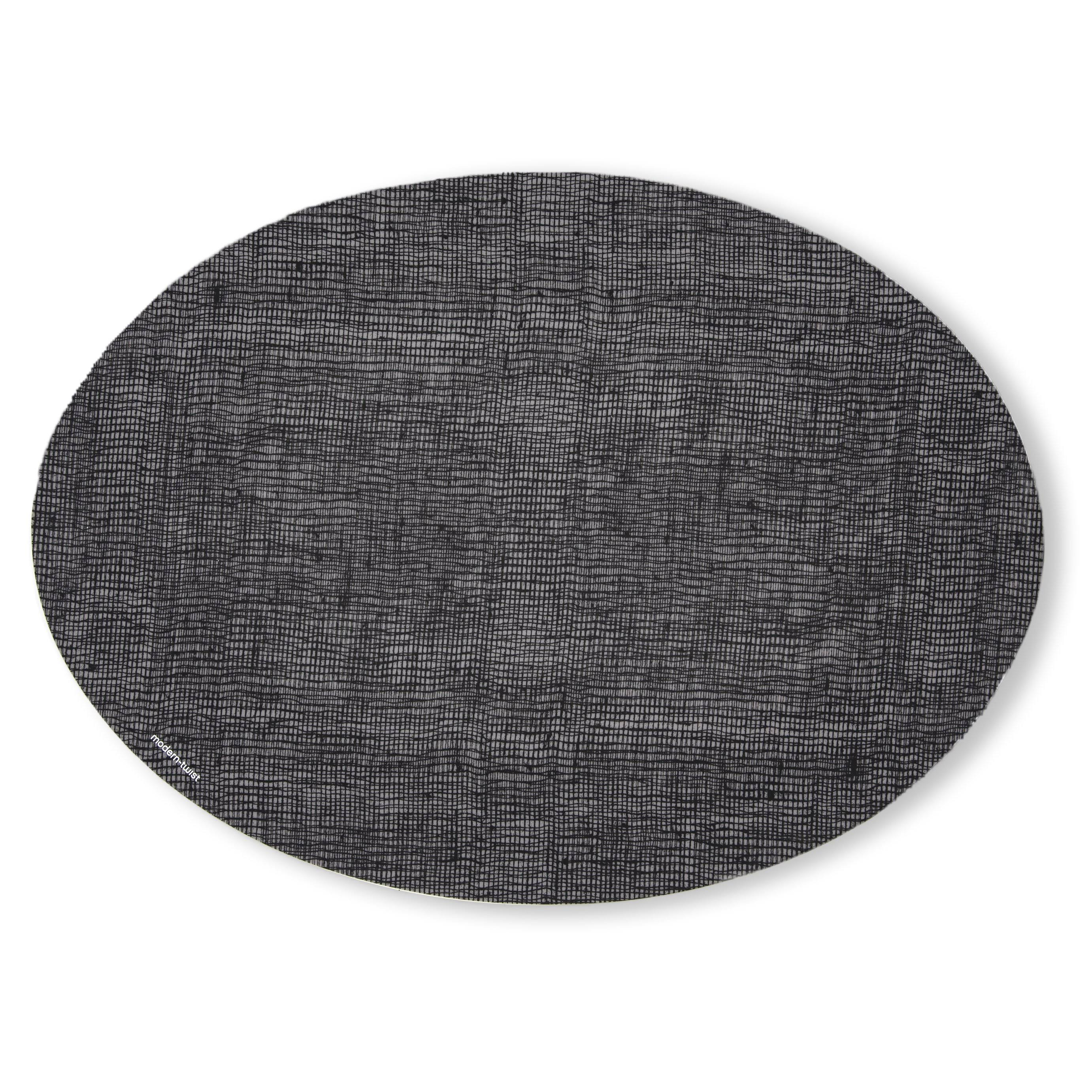 modern-twist Silicone Placemat, Cocoon Pattern,, Linen - Black