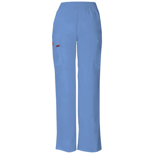 Dickies Womens Long Signature EDS Missy Fit Pull On Cargo Scrub Pants - Ciel Blue, XX-Large Petite