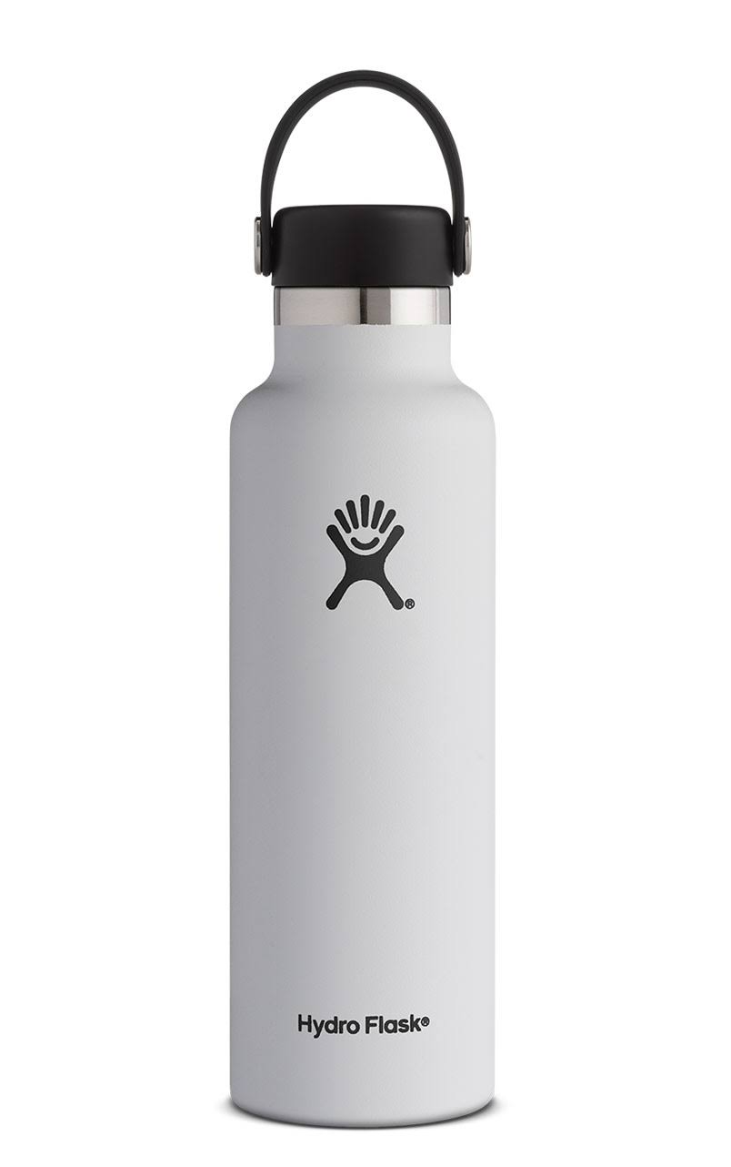 Hydro Flask Standard Mouth Sports Water Bottle - White, with Flex Cap, 21oz