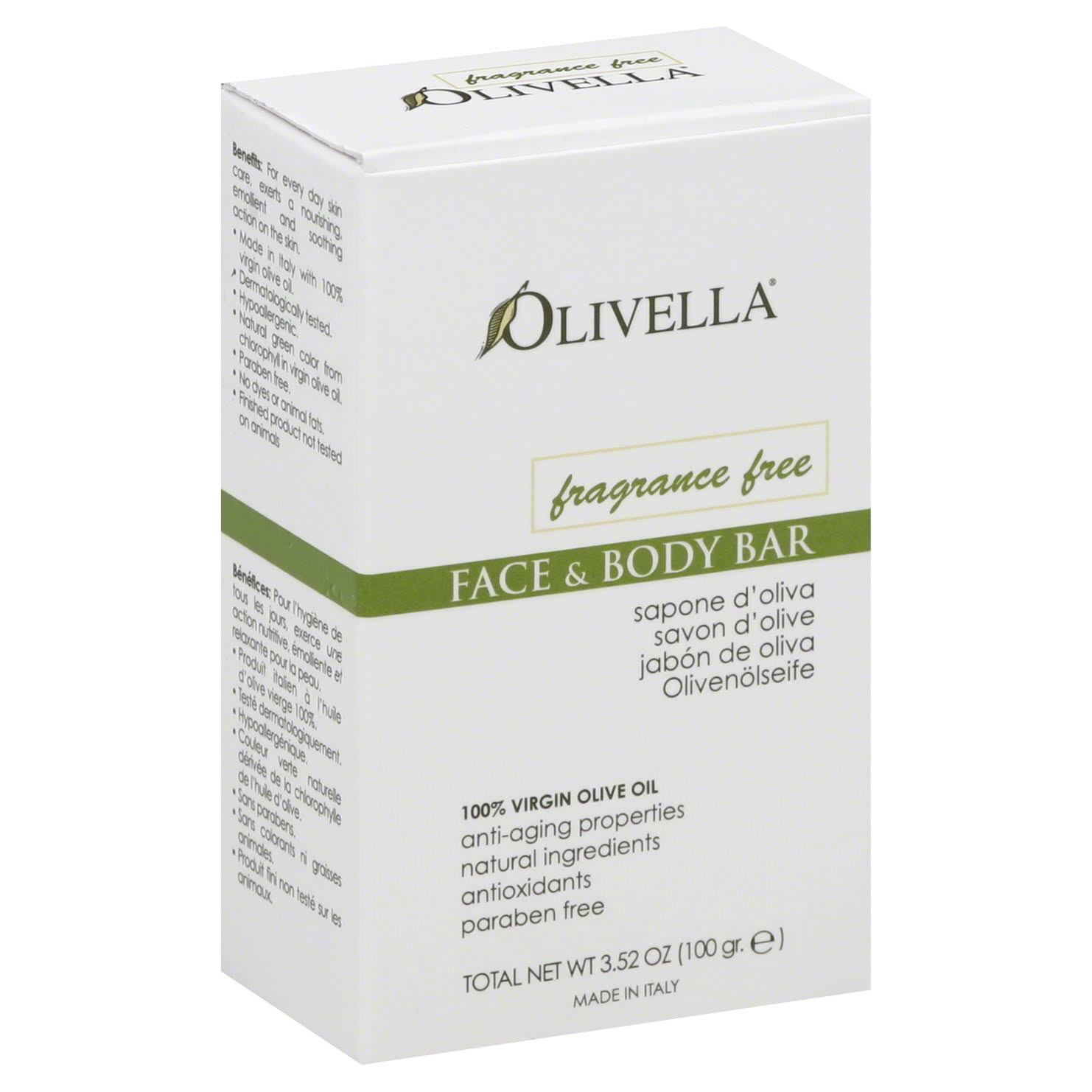 Olivella Face and Body Soap - Fragrance Free, 3.52oz