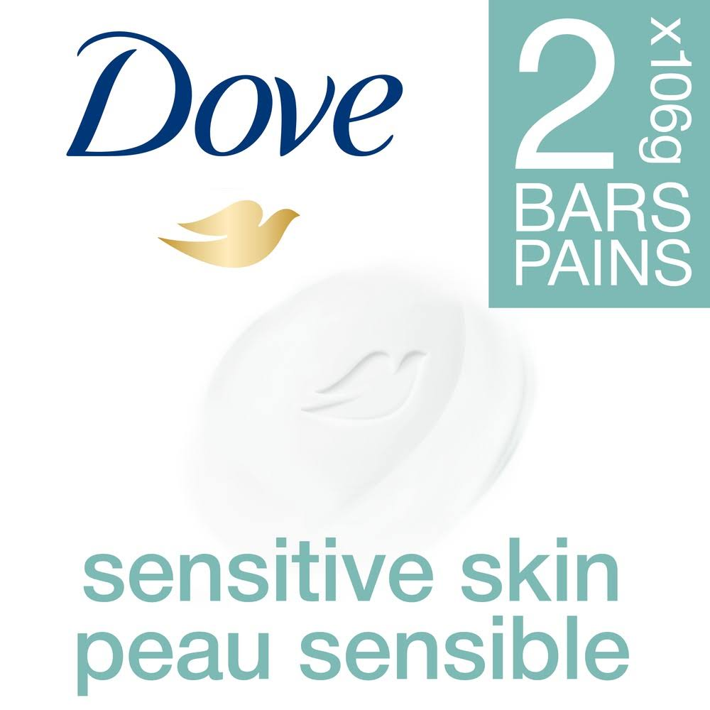 Dove Sensitive Skin Beauty Bars - 2 pack, 4 oz each