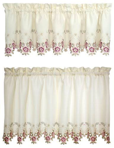 Today's Curtain Verona Reverse Embroidery Window Tier - Ecru/Rose, 24""