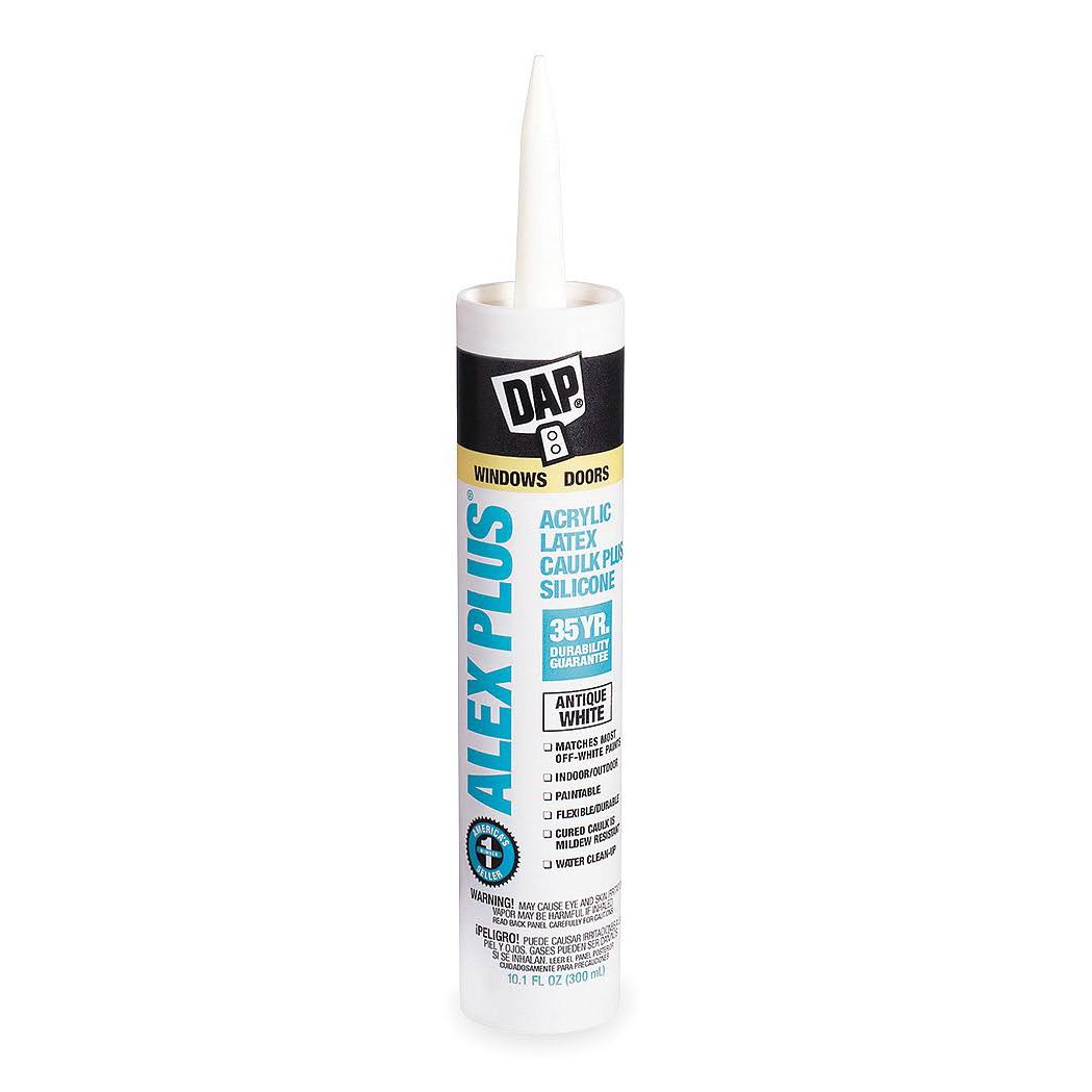 Dap Acrylic Latex Caulk Plus Silicone, Antique White - 10 oz tube