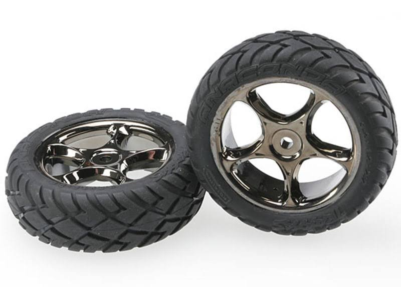"Traxxas 2 Front Anaconda Tires & 2.2"" Wheels - Black Chrome, 2479A"