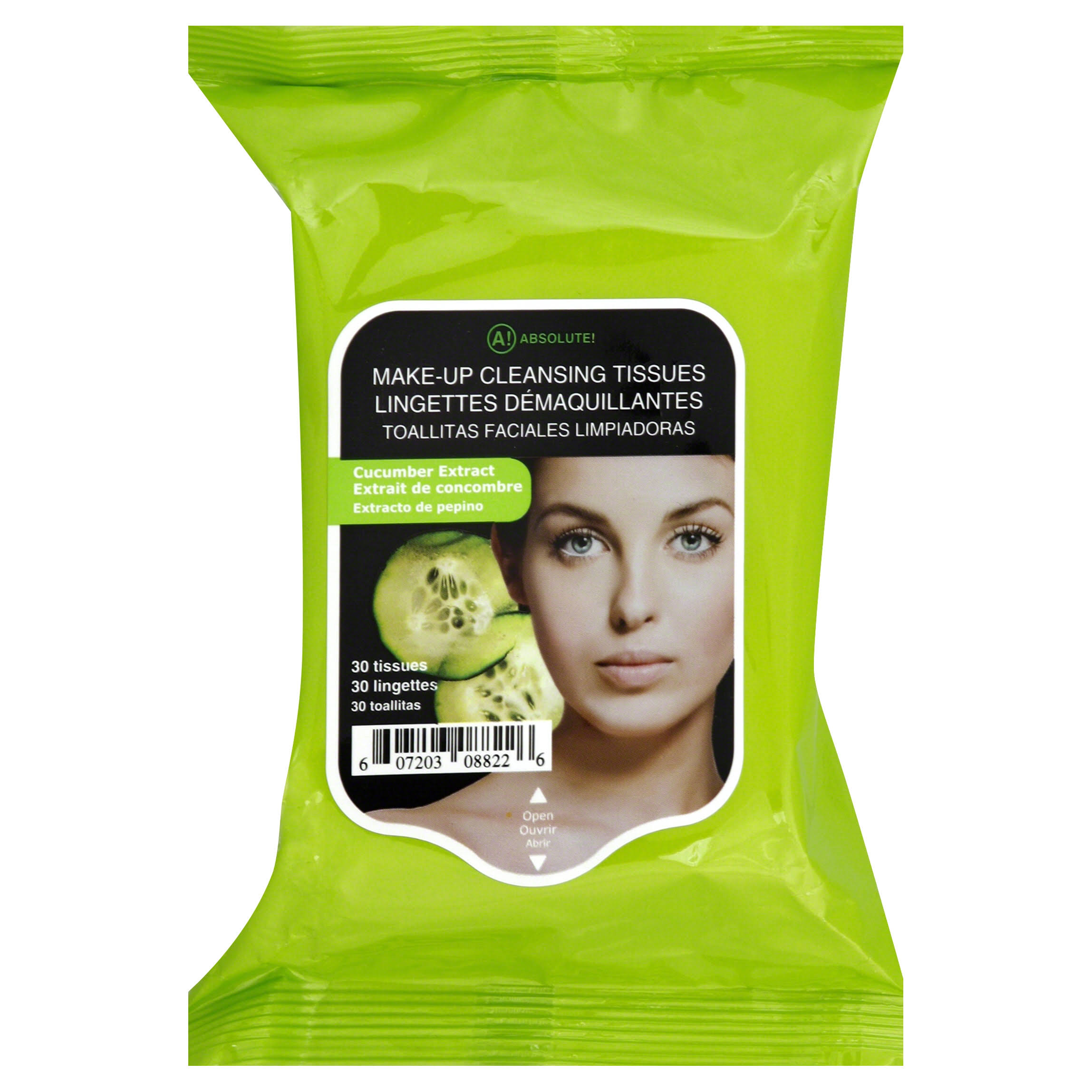 A! Absolute Make-Up Cleansing Tissues - Cucumber, 33 Tissues