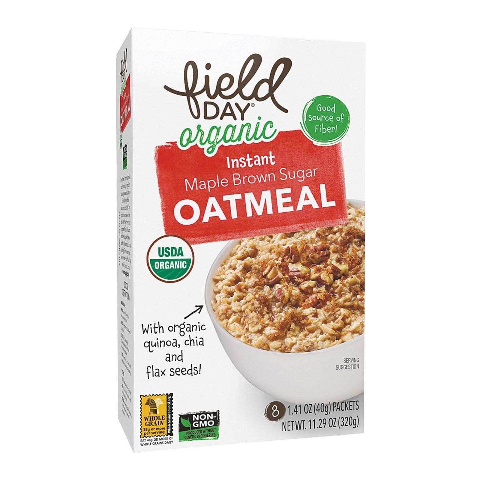 Field Day Organic Instant Maple Brown Sugar Oatmeal - Oatmeal - 11.29 Oz. - Case Of 6