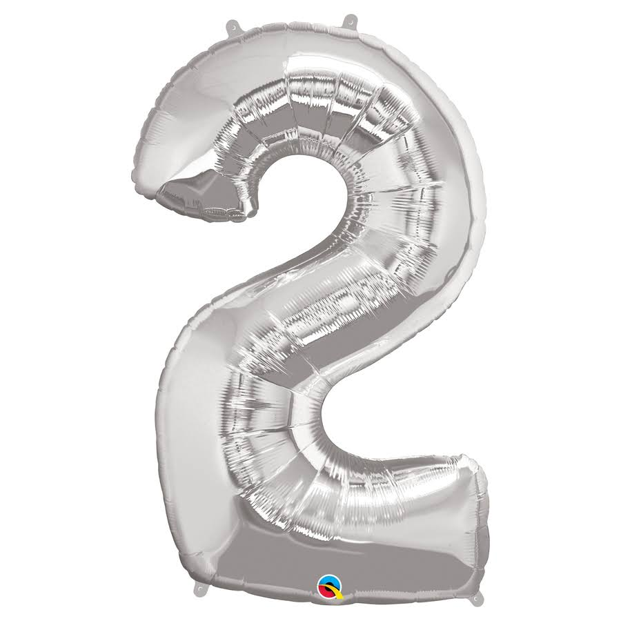 "Qualatex Silver 34"" Number 2 Supershape Foil 