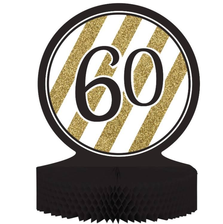 Creative Converting 60th Birthday Centerpiece - Black and Gold