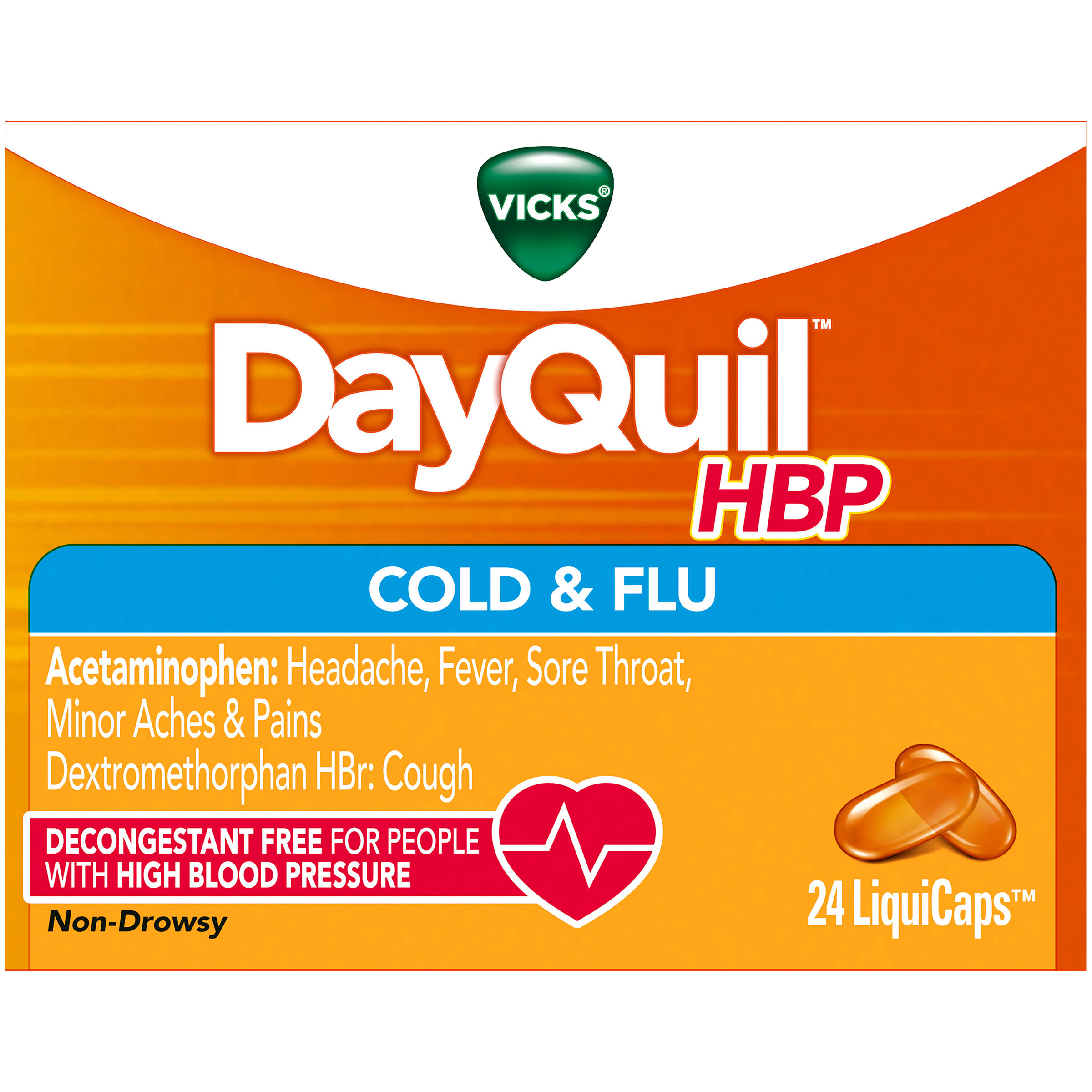Vicks DayQuil Cold & Flu Daytime LiquiCaps - 24ct, Non-Drowsy