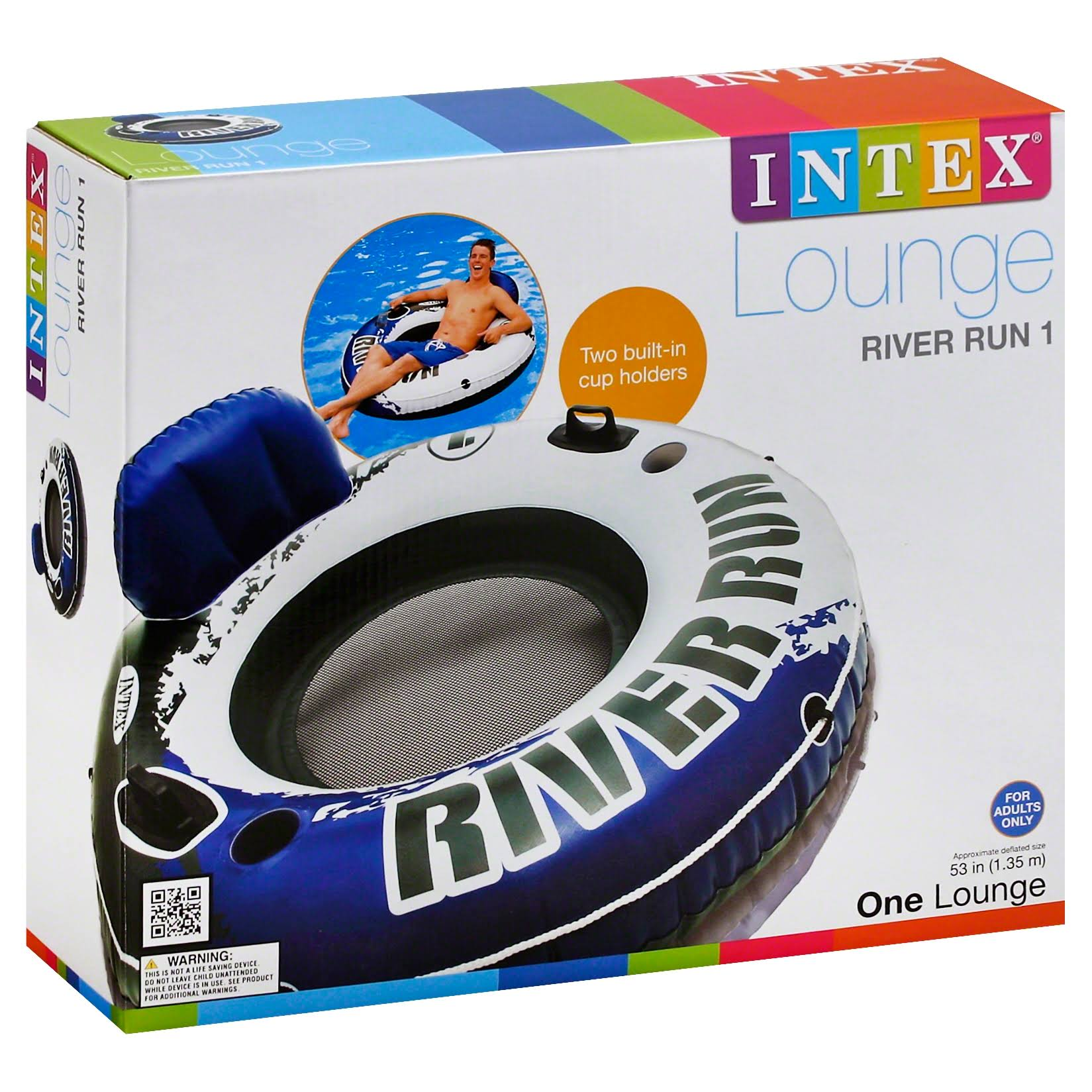 Intex River Run Sport Lounge Inflatable Water Float - 53""