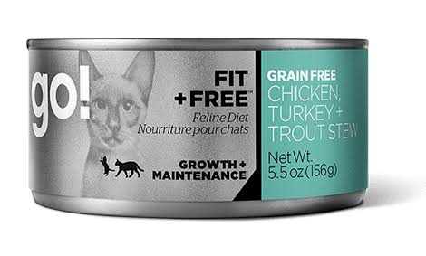 Petcurean Grain-Free Chicken, Turkey & Trout Stew Canned Cat Food, 5.5-oz, Case of 24