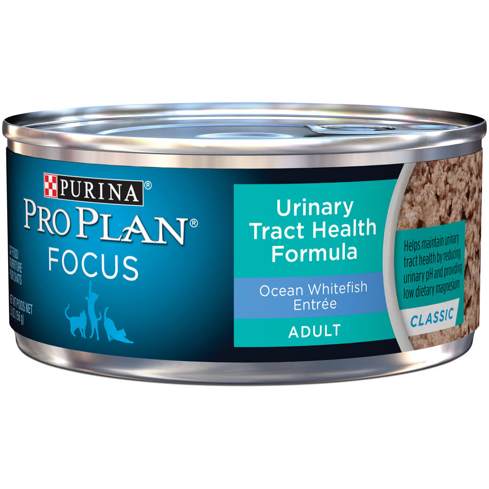 Purina Pro Plan Focus Adult Urinary Tract Health Formula Ocean Whitefish Entree Classic Cat Food 5.5 Oz. Can