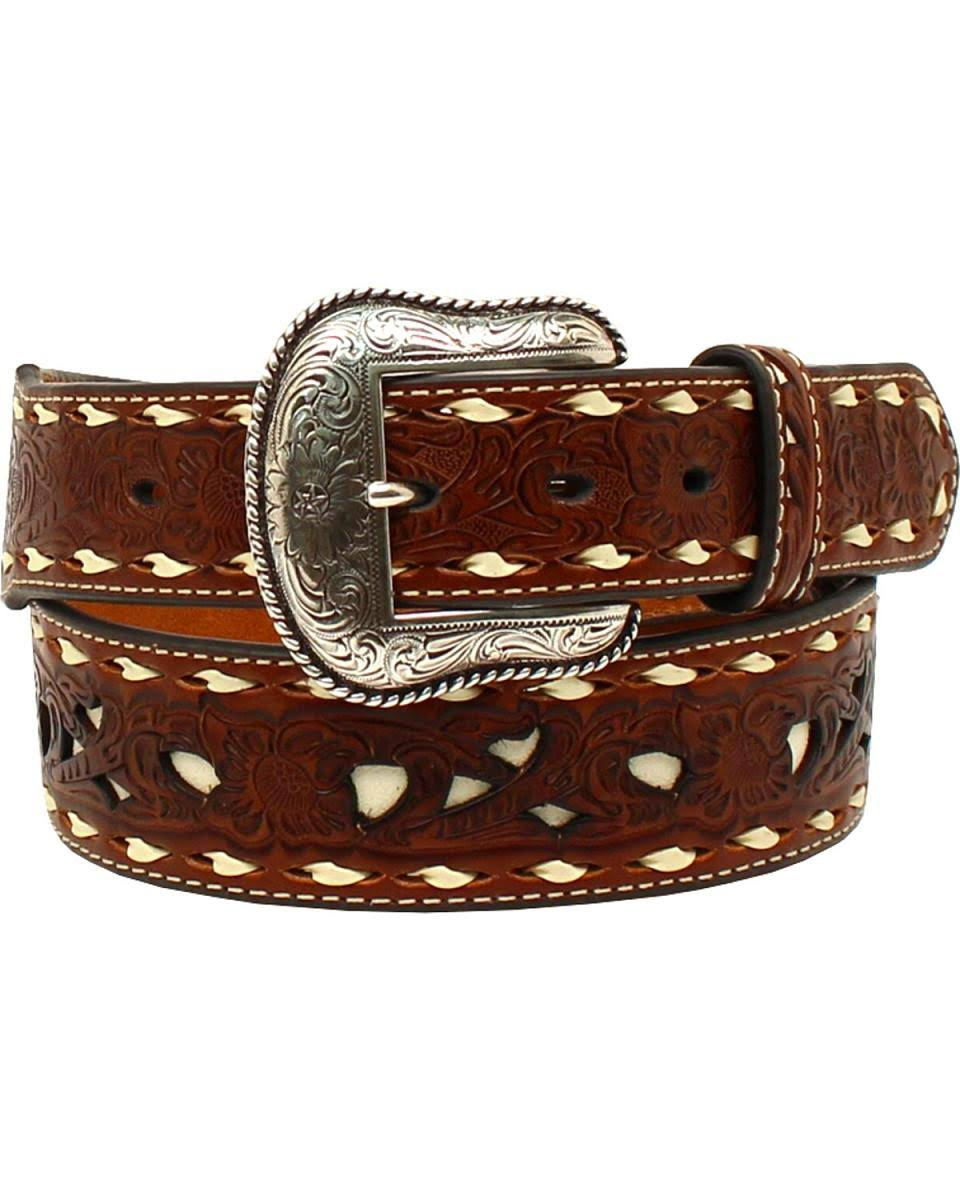 Nocona Western Belt Mens Lacing Embossed Floral Contrast Tan N2410908