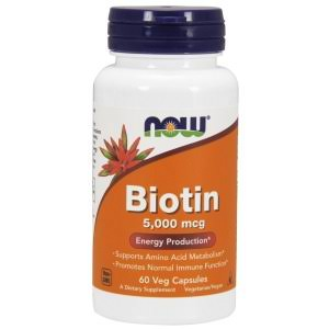 Now Foods Biotin Dietary Supplement, 5000 mcg, Vegetable Capsules - 60 count