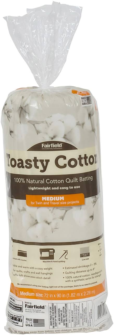 "Fairfield Toasty Cotton Batting 72""X90"" FOB: Mi"