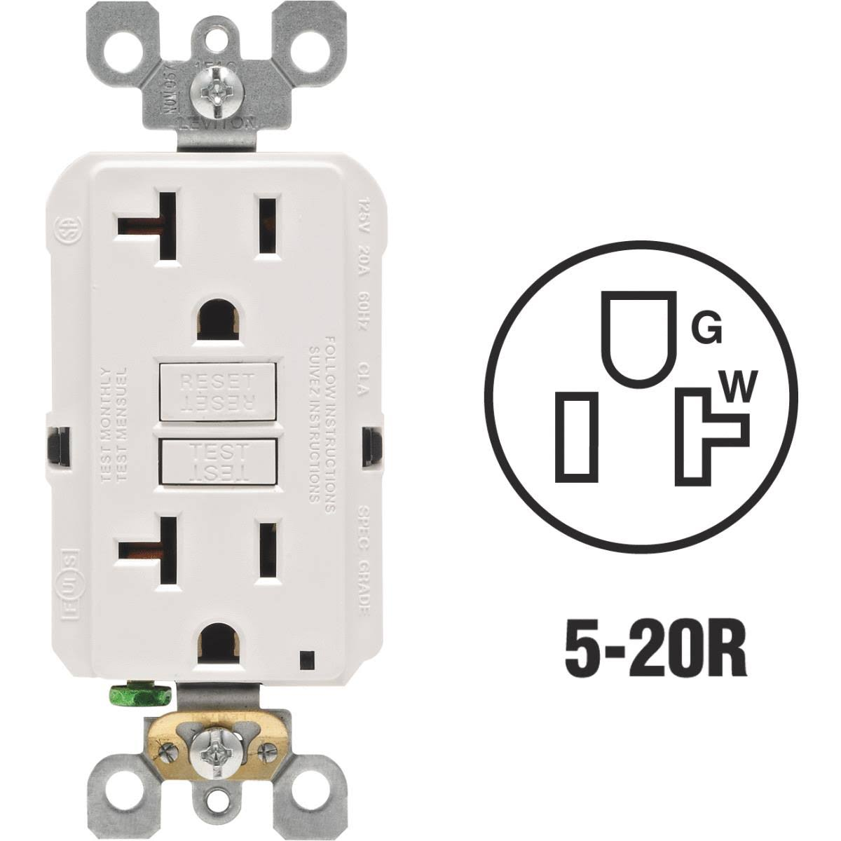 Leviton GFCI Outlet - White, 20amp