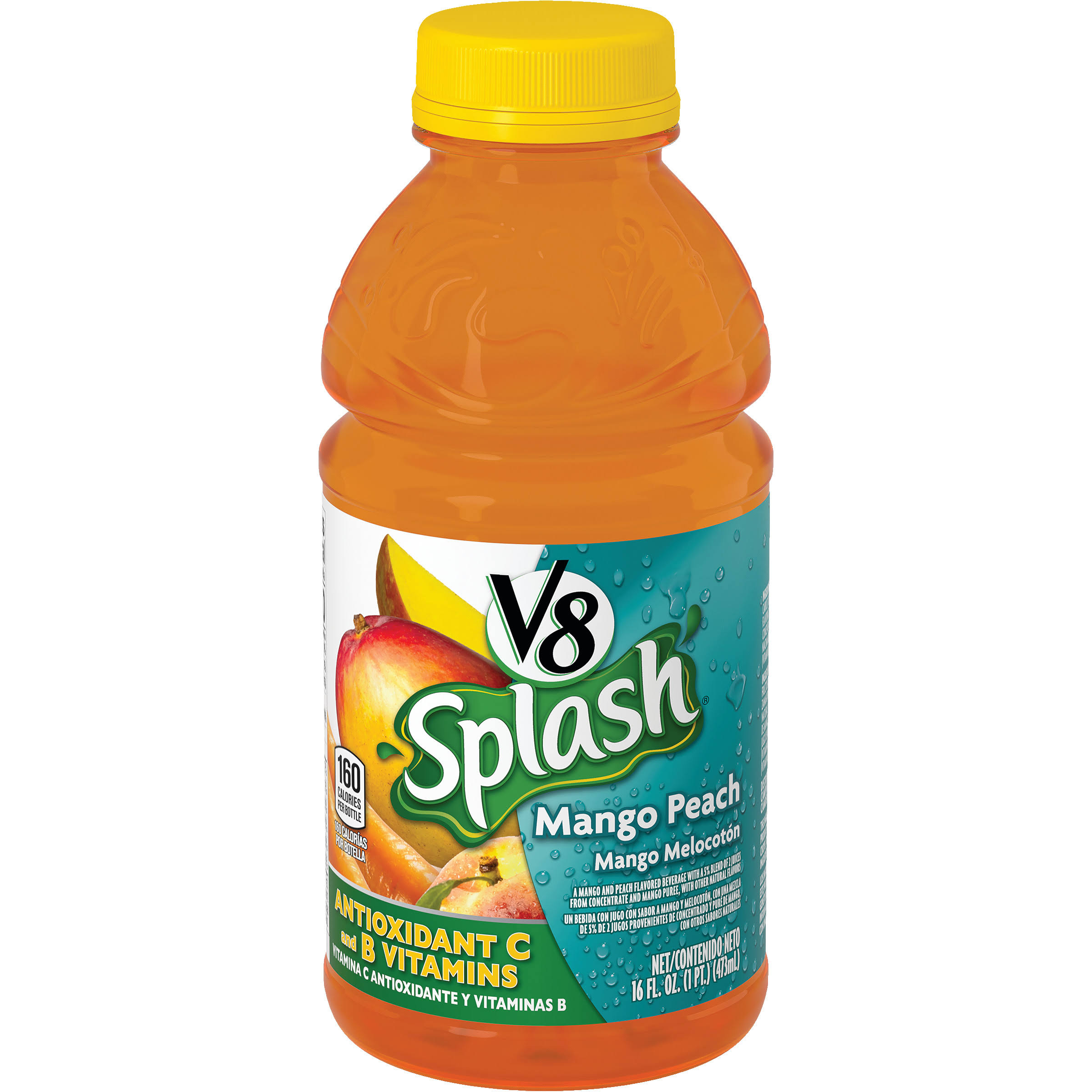 V8 Juice Beverage, Mango Peach, Splash - 16 fl oz