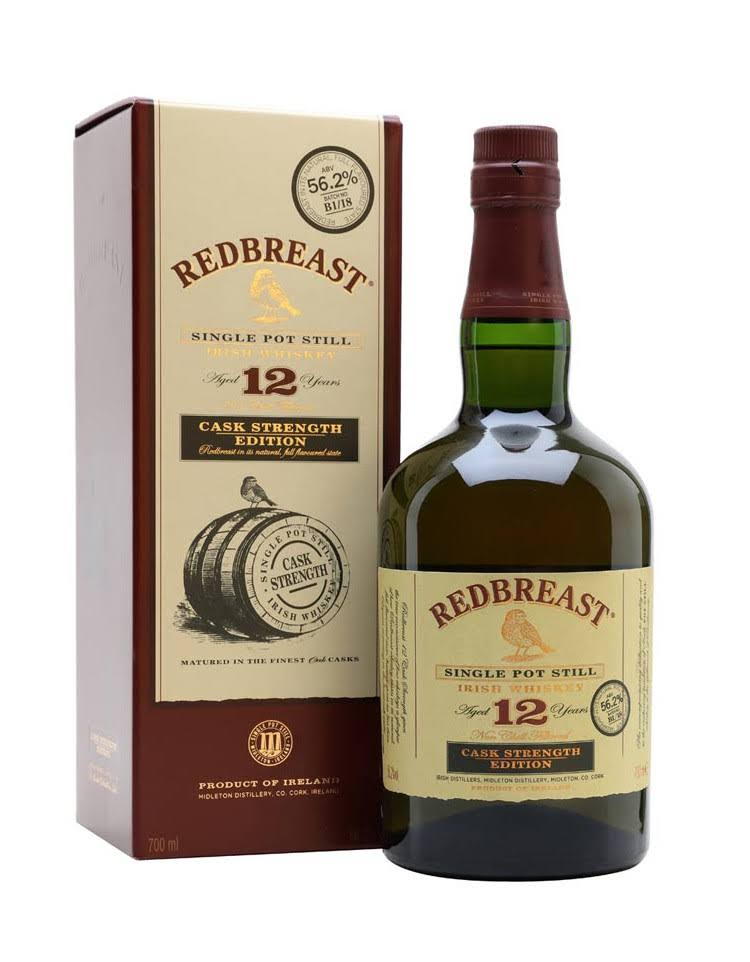 Redbreast Aged 12 Years Cask Strength Single Pot Still Irish Whiskey - 700ml