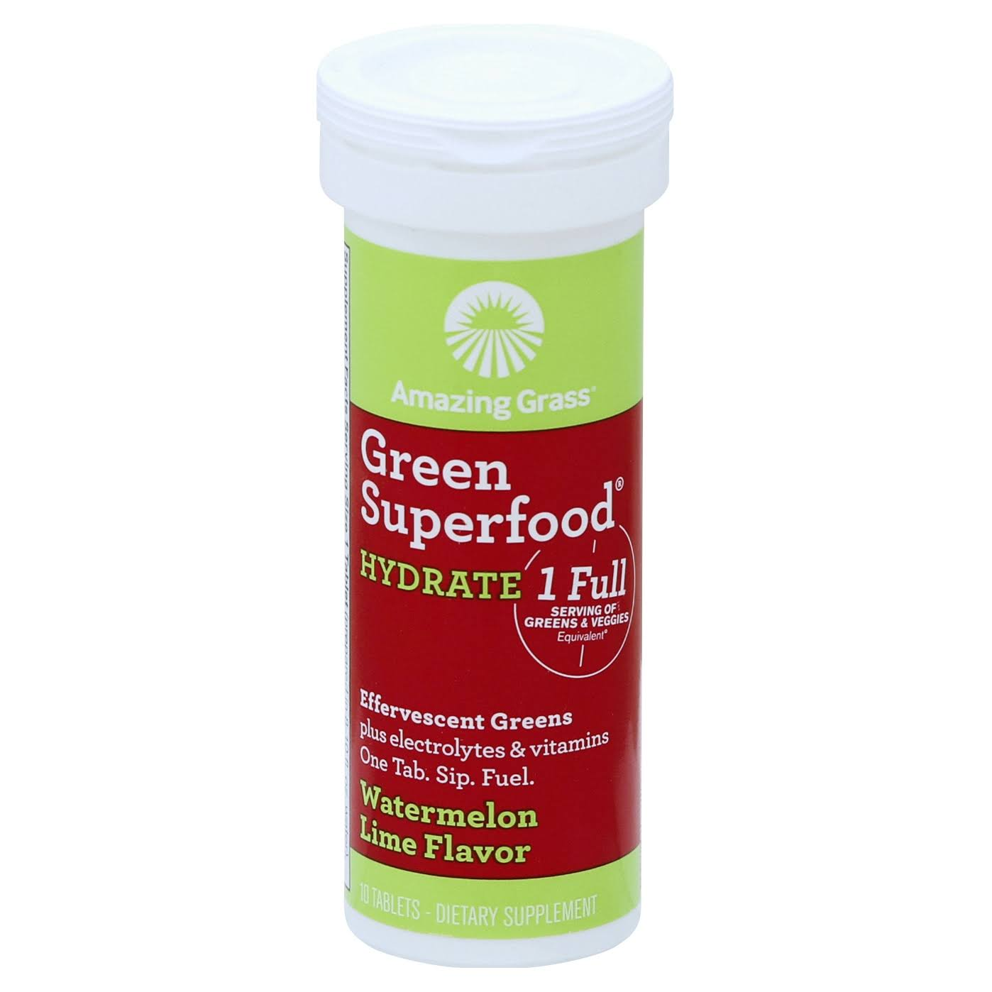 Amazing Grass Green Superfood Hydrate Effervescent Greens Vitamins - Watermelon Lime Flavor