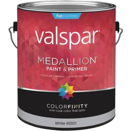 Valspar Brand Medallion Exterior Latex House Paint - 3.8L, Flat White