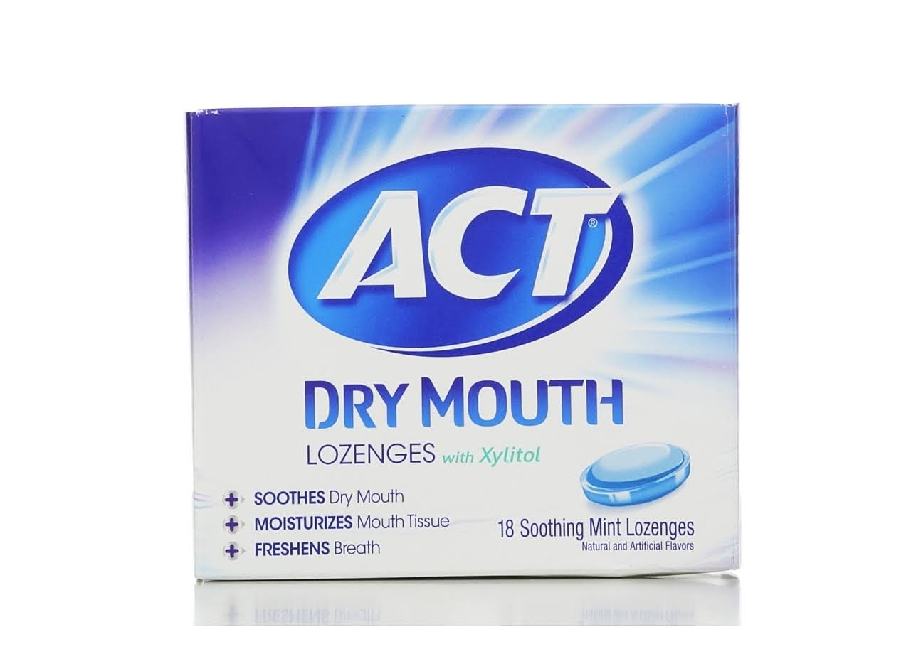 Act Dry Mouth Lozenges - Xylitol Soothing Mint, 18pk