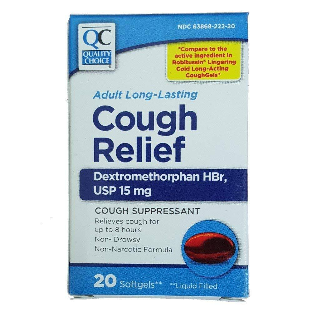 Quality Choice Cough Relief Non-Drowsy USP 15mg 20 Softgels Each
