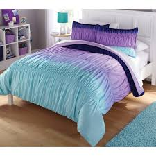 Lavender And Grey Bedding by Latitude Ombre Ruched Reversible Complete Bedding Set Purple