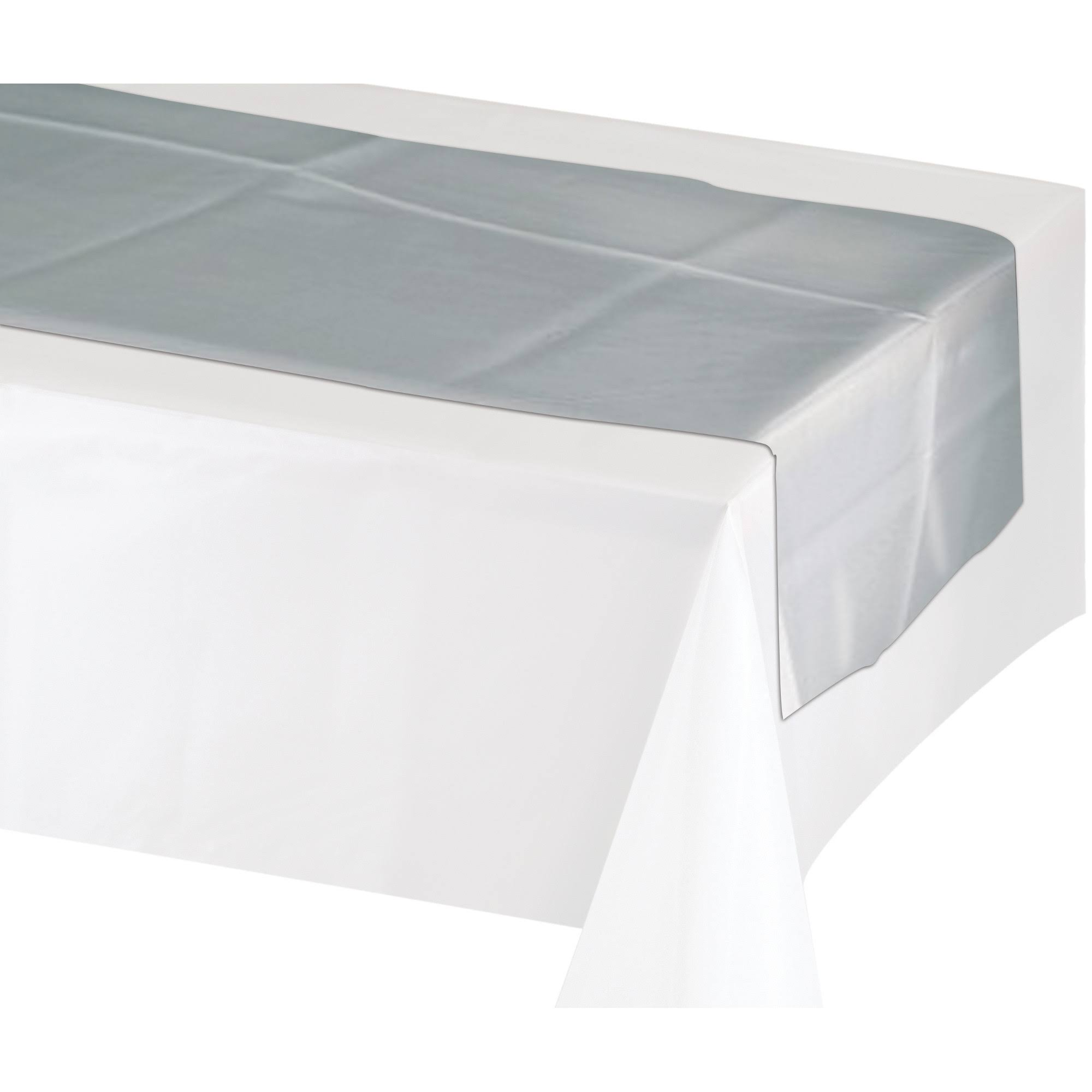 "Creative Converting 317333 Metallic Silver Plastic Table Runner - 14""x84"""