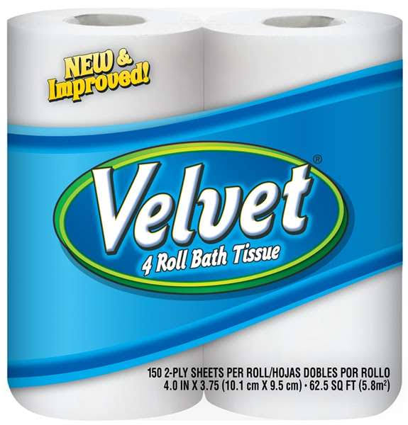 Velvet Bathroom Tissue - White, 2 Ply, 150 Roll