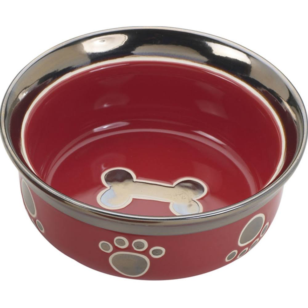 Ethical Pet Spot CSO6886 Ritz Copper Rim Cat Dish - Red, 5""