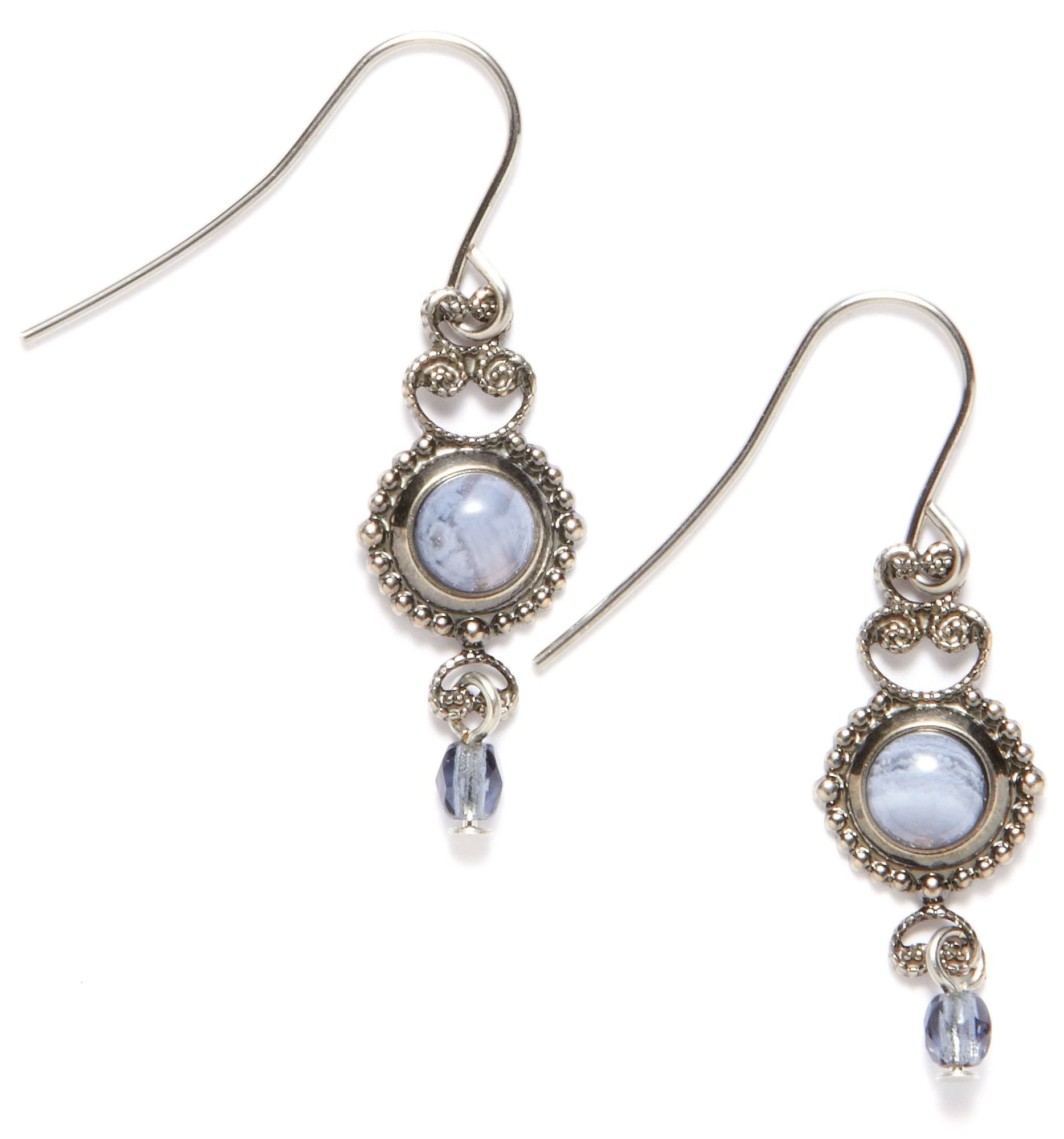 Silver Forest Filigree Blue Lace Earrings
